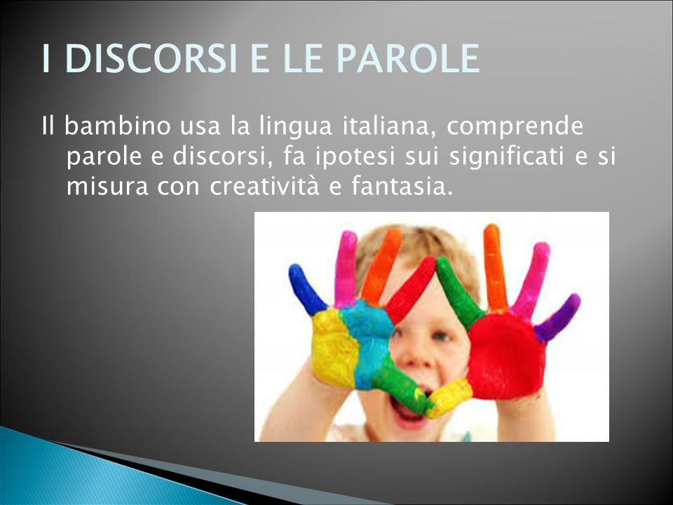 I DISCORSI E LE PAROLE Il bambino usa la lingua italiana, comprende parole e discorsi, fa ipotesi sui significati e si misura con creatività e fantasi