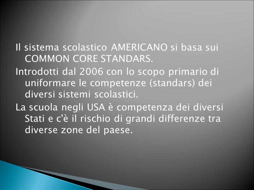 Il sistema scolastico AMERICANO si basa sui COMMON CORE STANDARS. Introdotti dal 2006 con lo scopo primario di uniformare le competenze (standars) dei