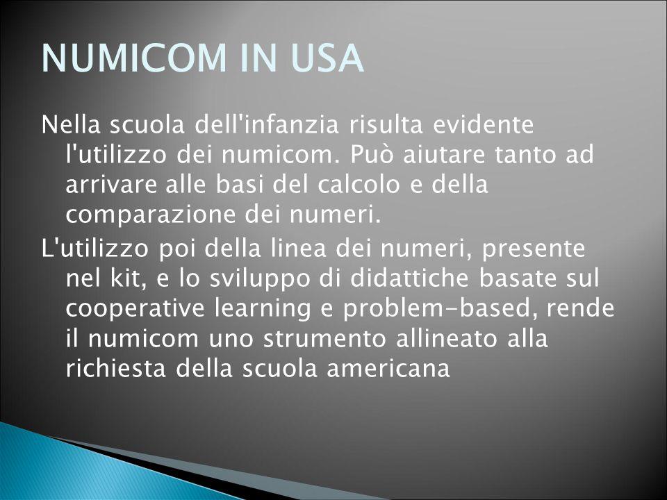 NUMICOM IN USA Nella scuola dell'infanzia risulta evidente l'utilizzo dei numicom. Può aiutare tanto ad arrivare alle basi del calcolo e della compara