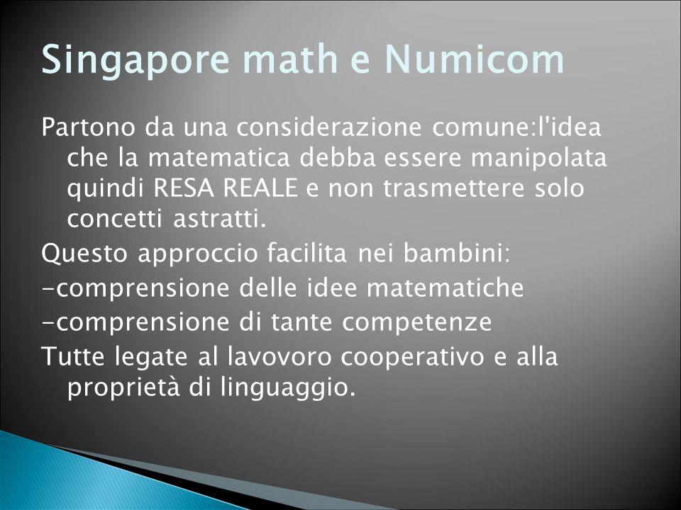 Singapore math e Numicom Partono da una considerazione comune:l'idea che la matematica debba essere manipolata quindi RESA REALE e non trasmettere sol