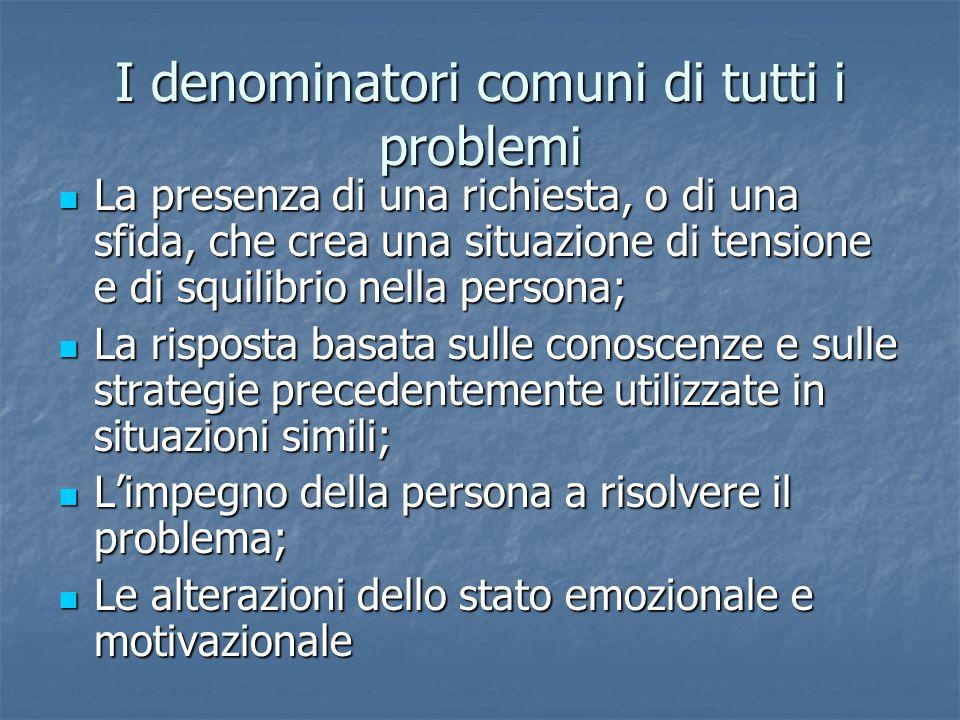 I denominatori comuni di tutti i problemi La presenza di una richiesta, o di una sfida, che crea una situazione di tensione e di squilibrio nella pers