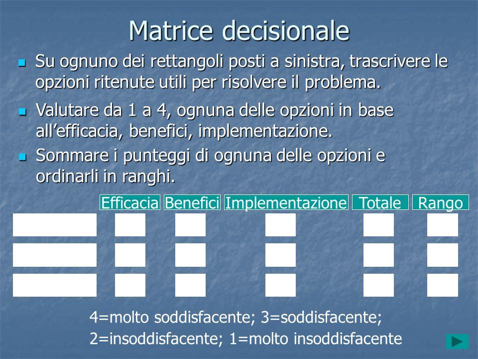Matrice decisionale Su ognuno dei rettangoli posti a sinistra, trascrivere le opzioni ritenute utili per risolvere il problema. Su ognuno dei rettango