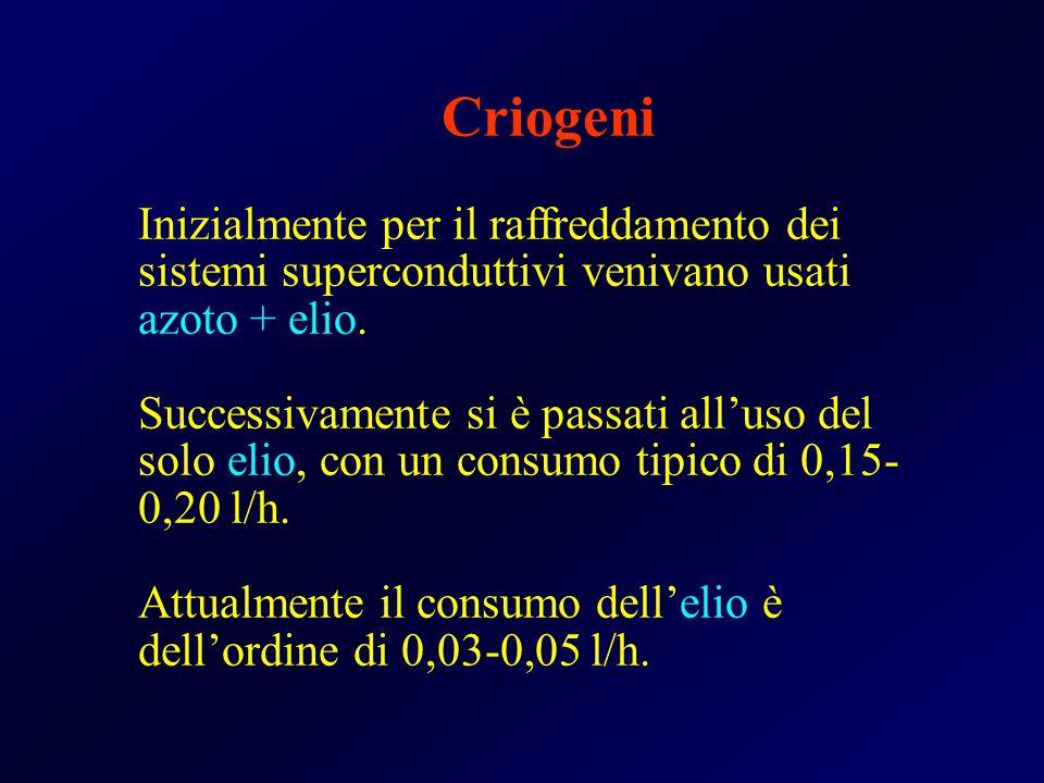 Criogeni Inizialmente per il raffreddamento dei sistemi superconduttivi venivano usati azoto + elio. Successivamente si è passati all'uso del solo eli