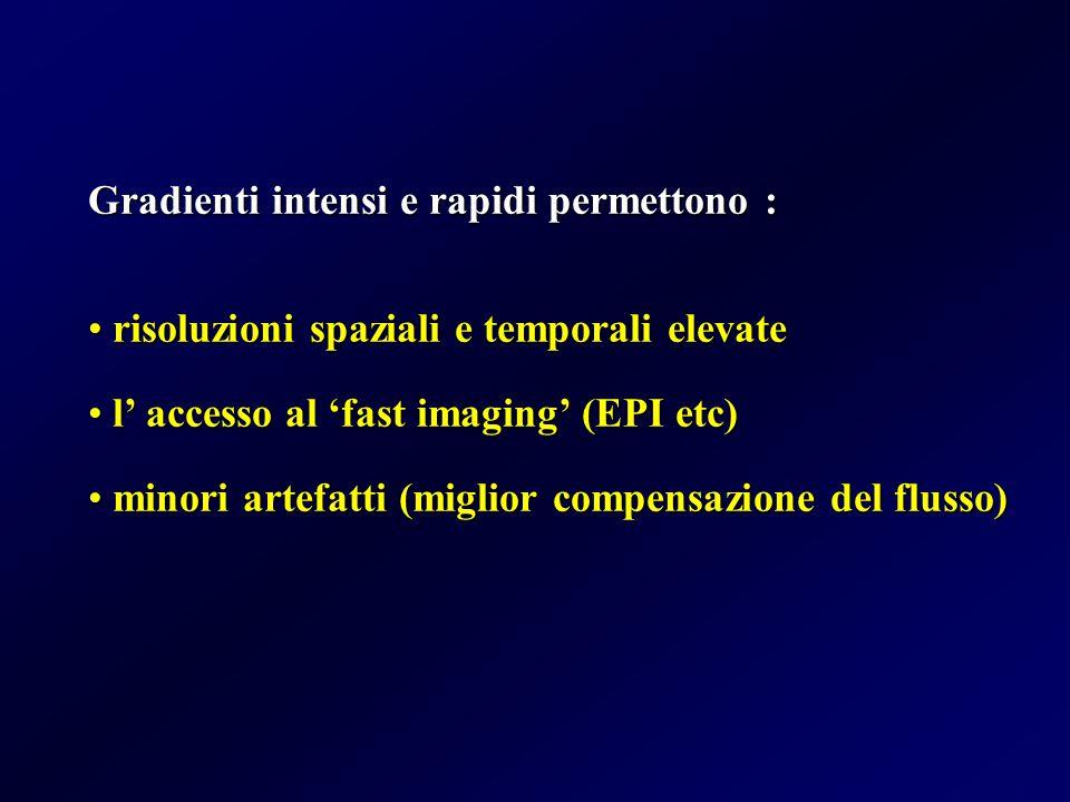 Gradienti intensi e rapidi permettono : risoluzioni spaziali e temporali elevate risoluzioni spaziali e temporali elevate l' accesso al 'fast imaging'