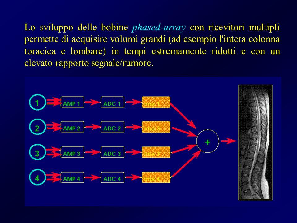 Lo sviluppo delle bobine phased-array con ricevitori multipli permette di acquisire volumi grandi (ad esempio l'intera colonna toracica e lombare) in