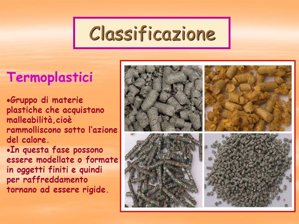 Classificazione Termoplastici  Gruppo di materie plastiche che acquistano malleabilità,cioè rammolliscono sotto l'azione del calore.