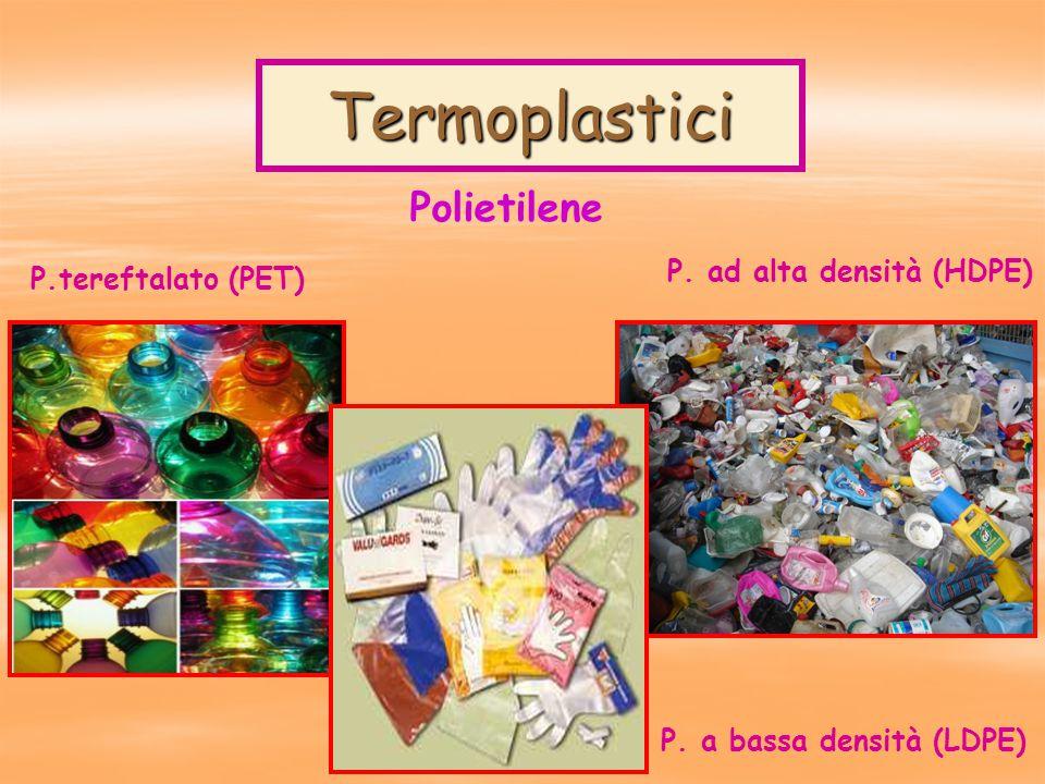 Termoplastici Polietilene P.tereftalato (PET) P. ad alta densità (HDPE) P. a bassa densità (LDPE)