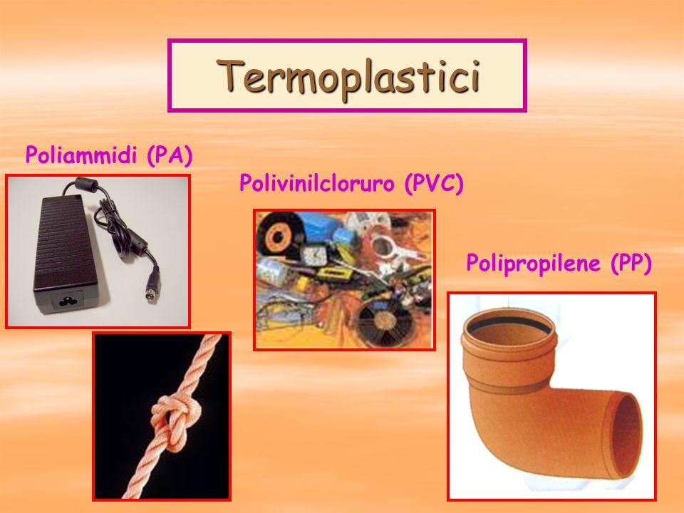Termoplastici Polipropilene (PP) Poliammidi (PA) Polivinilcloruro (PVC)