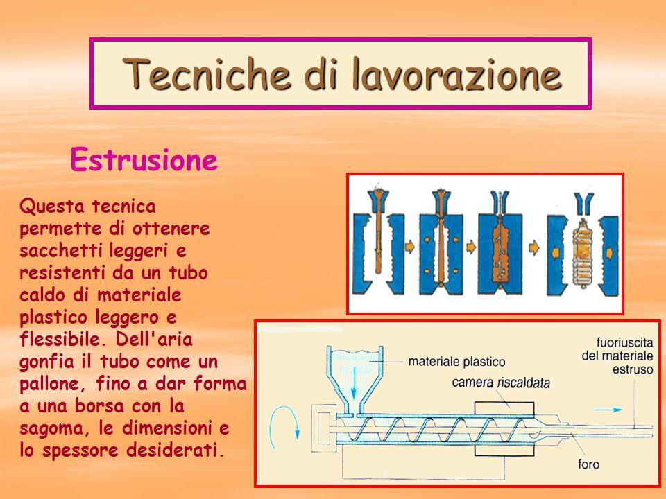 Tecniche di lavorazione Estrusione Questa tecnica permette di ottenere sacchetti leggeri e resistenti da un tubo caldo di materiale plastico leggero e flessibile.