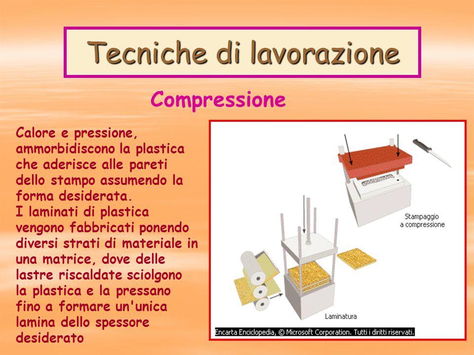 Tecniche di lavorazione Calore e pressione, ammorbidiscono la plastica che aderisce alle pareti dello stampo assumendo la forma desiderata.
