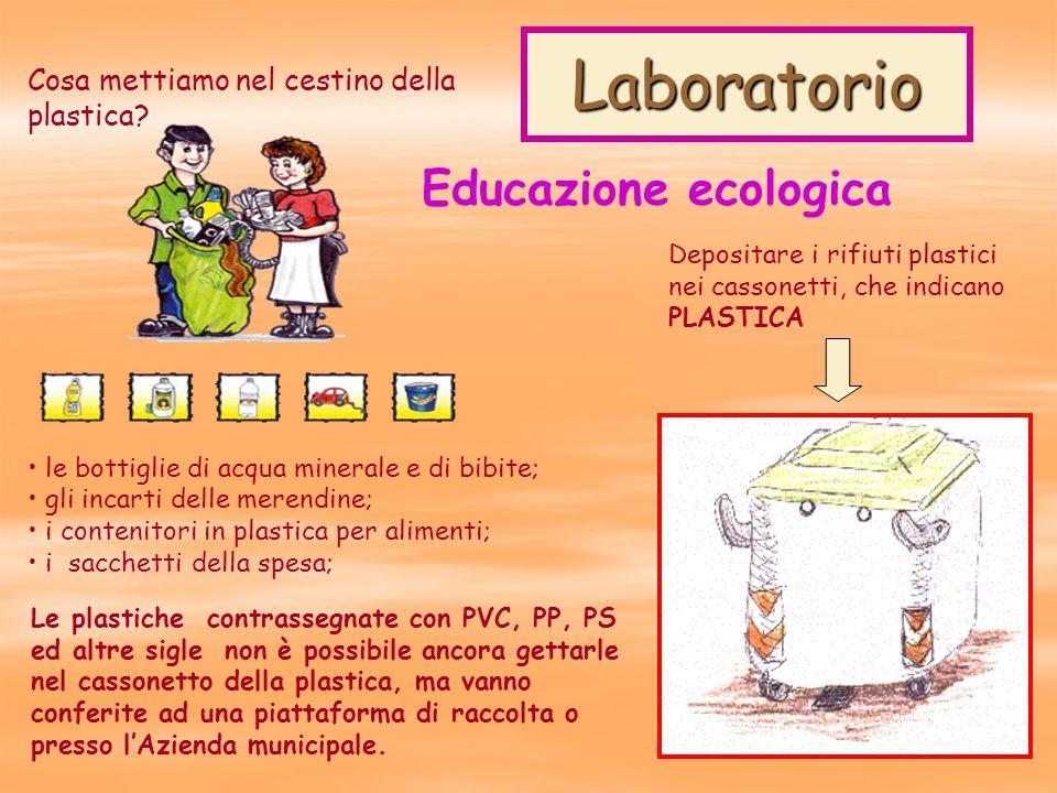 Laboratorio Educazione ecologica Depositare i rifiuti plastici nei cassonetti, che indicano PLASTICA Cosa mettiamo nel cestino della plastica.