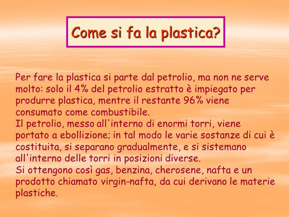 Per fare la plastica si parte dal petrolio, ma non ne serve molto: solo il 4% del petrolio estratto è impiegato per produrre plastica, mentre il restante 96% viene consumato come combustibile.