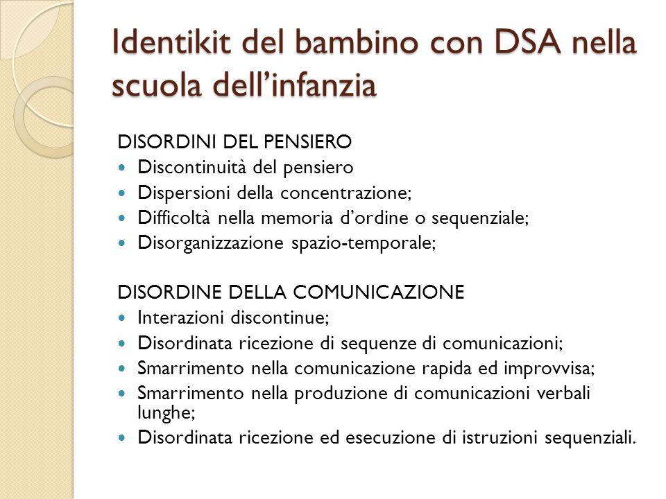 Identikit del bambino con DSA nella scuola dell'infanzia DISORDINI DEL PENSIERO Discontinuità del pensiero Dispersioni della concentrazione; Difficolt