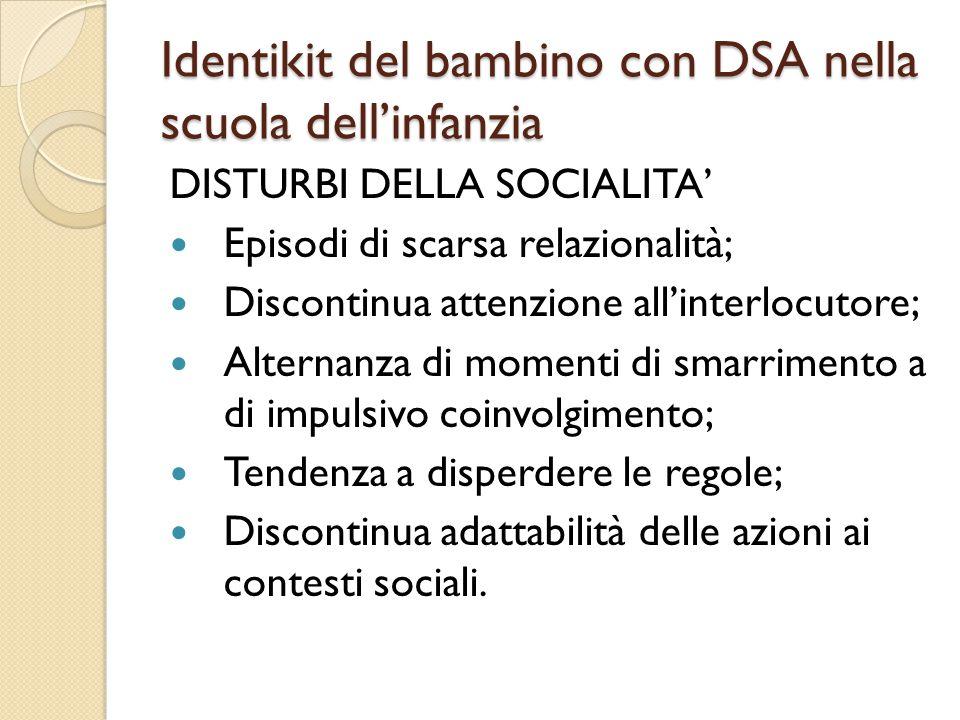 Identikit del bambino con DSA nella scuola dell'infanzia DISTURBI DELLA SOCIALITA' Episodi di scarsa relazionalità; Discontinua attenzione all'interlo