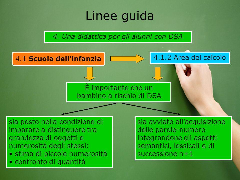 4. Una didattica per gli alunni con DSA Linee guida 4.1 Scuola dell'infanzia 4.1.2 Area del calcolo sia posto nella condizione di imparare a distingue