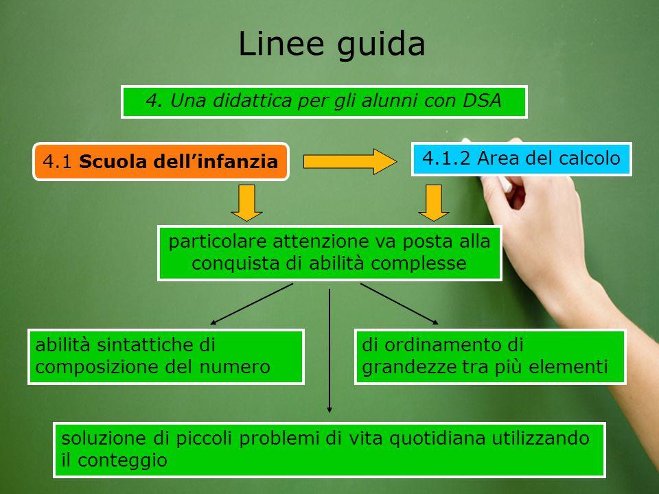 4. Una didattica per gli alunni con DSA Linee guida 4.1 Scuola dell'infanzia 4.1.2 Area del calcolo abilità sintattiche di composizione del numero par