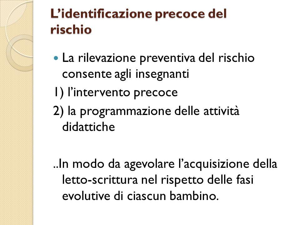 L'identificazione precoce del rischio La rilevazione preventiva del rischio consente agli insegnanti 1) l'intervento precoce 2) la programmazione dell