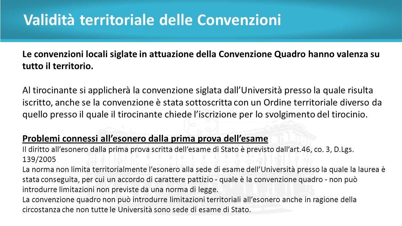 Validità territoriale delle Convenzioni Le convenzioni locali siglate in attuazione della Convenzione Quadro hanno valenza su tutto il territorio.