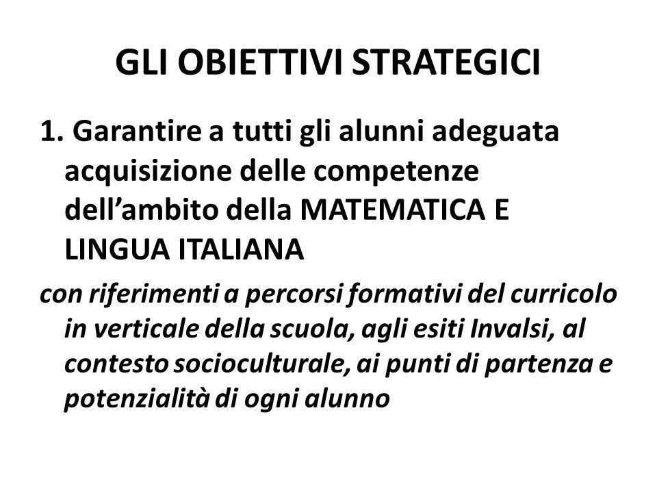 1. Garantire a tutti gli alunni adeguata acquisizione delle competenze dell'ambito della MATEMATICA E LINGUA ITALIANA con riferimenti a percorsi forma