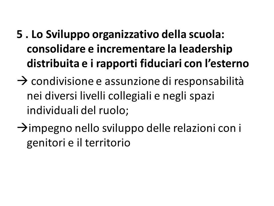 5. Lo Sviluppo organizzativo della scuola: consolidare e incrementare la leadership distribuita e i rapporti fiduciari con l'esterno  condivisione e