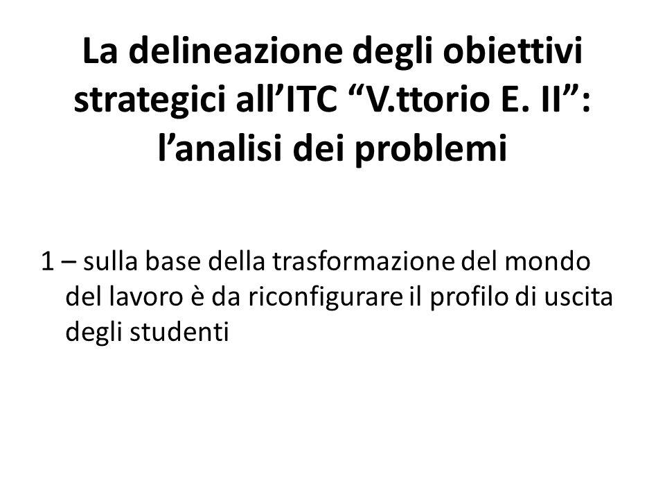 """La delineazione degli obiettivi strategici all'ITC """"V.ttorio E. II"""": l'analisi dei problemi 1 – sulla base della trasformazione del mondo del lavoro è"""