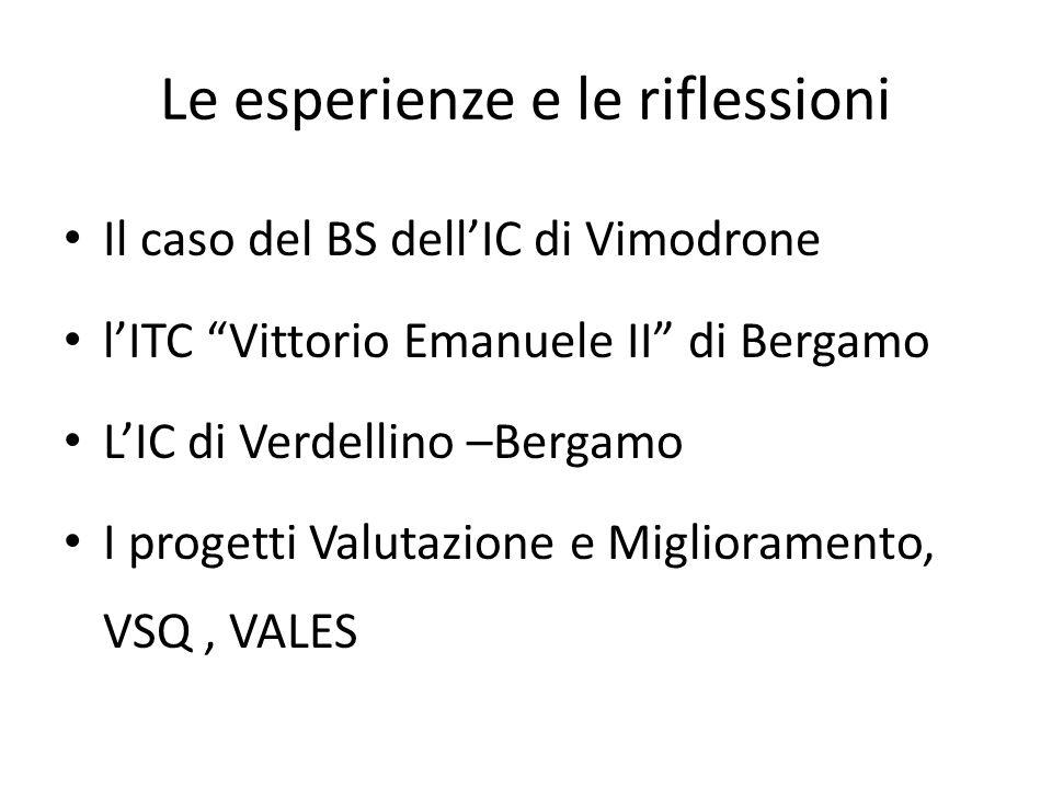 """Le esperienze e le riflessioni Il caso del BS dell'IC di Vimodrone l'ITC """"Vittorio Emanuele II"""" di Bergamo L'IC di Verdellino –Bergamo I progetti Valu"""
