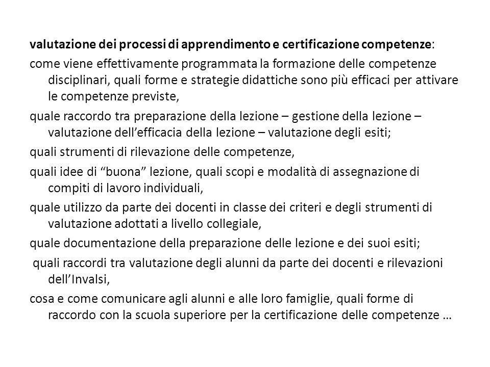 valutazione dei processi di apprendimento e certificazione competenze: come viene effettivamente programmata la formazione delle competenze disciplina