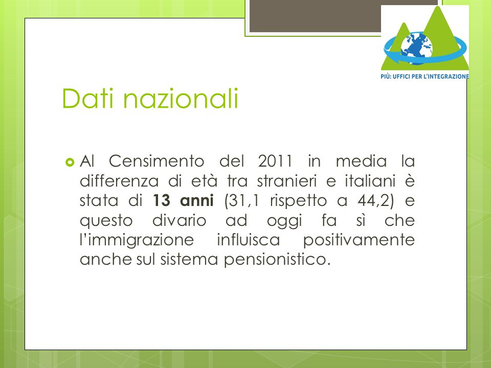 Dati nazionali  Al Censimento del 2011 in media la differenza di età tra stranieri e italiani è stata di 13 anni (31,1 rispetto a 44,2) e questo diva