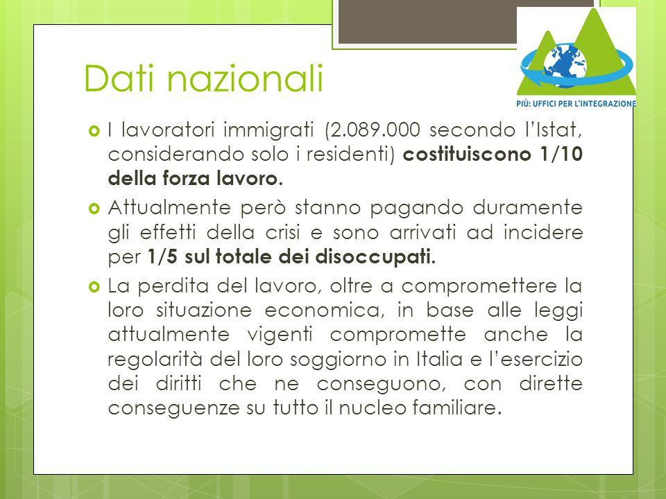 Dati nazionali  I lavoratori immigrati (2.089.000 secondo l'Istat, considerando solo i residenti) costituiscono 1/10 della forza lavoro.  Attualment
