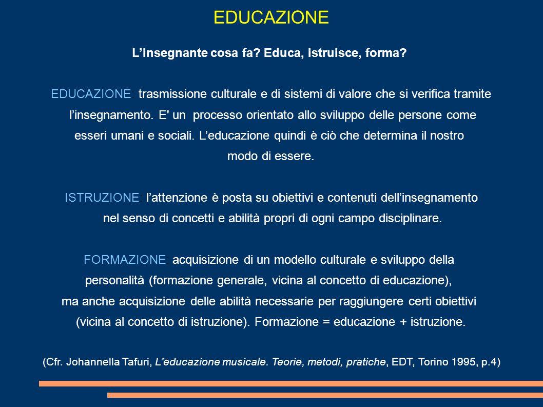 EDUCAZIONE L'insegnante cosa fa.Educa, istruisce, forma.