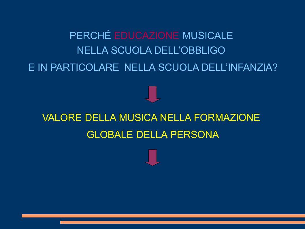 PERCHÉ EDUCAZIONE MUSICALE NELLA SCUOLA DELL'OBBLIGO E IN PARTICOLARE NELLA SCUOLA DELL'INFANZIA.