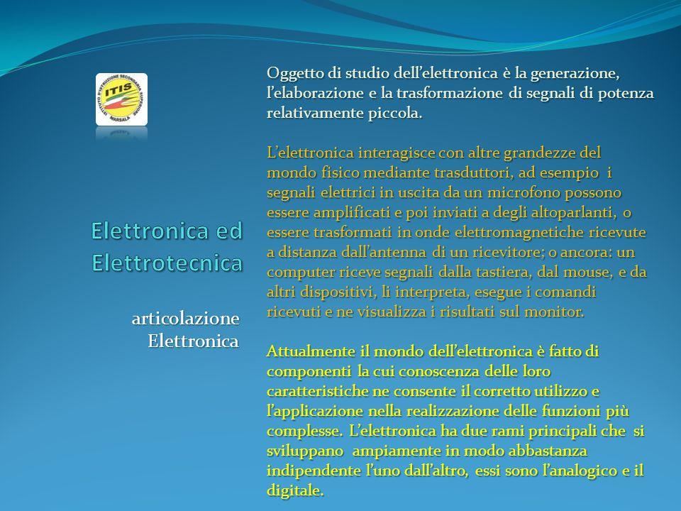 articolazione Elettronica Oggetto di studio dell'elettronica è la generazione, l'elaborazione e la trasformazione di segnali di potenza relativamente