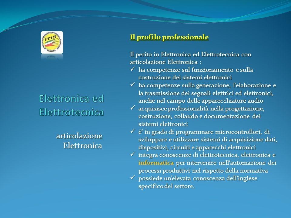 articolazione Elettronica Il profilo professionale Il perito in Elettronica ed Elettrotecnica con articolazione Elettronica : ha competenze sul funzio