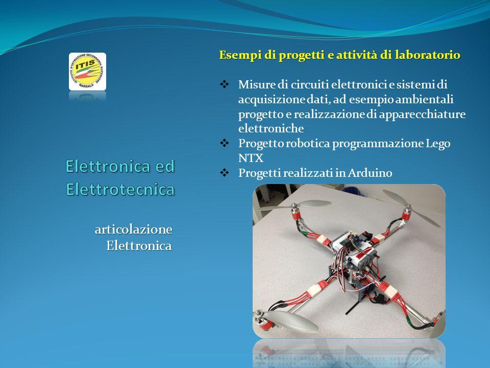 articolazione Elettronica Esempi di progetti e attività di laboratorio  Misure di circuiti elettronici e sistemi di acquisizione dati, ad esempio amb