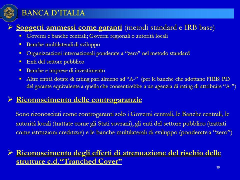 BANCA D'ITALIA 10  Soggetti ammessi come garanti (metodi standard e IRB base)  Governi e banche centrali; Governi regionali o autorità locali  Banc