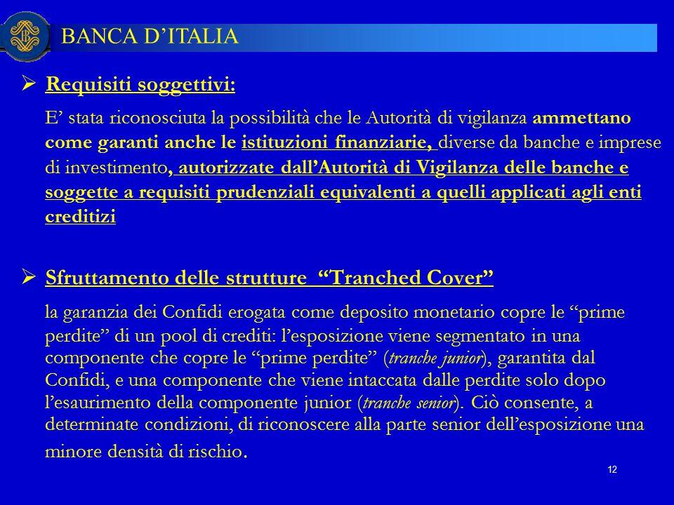 BANCA D'ITALIA 12  Requisiti soggettivi: E' stata riconosciuta la possibilità che le Autorità di vigilanza ammettano come garanti anche le istituzion