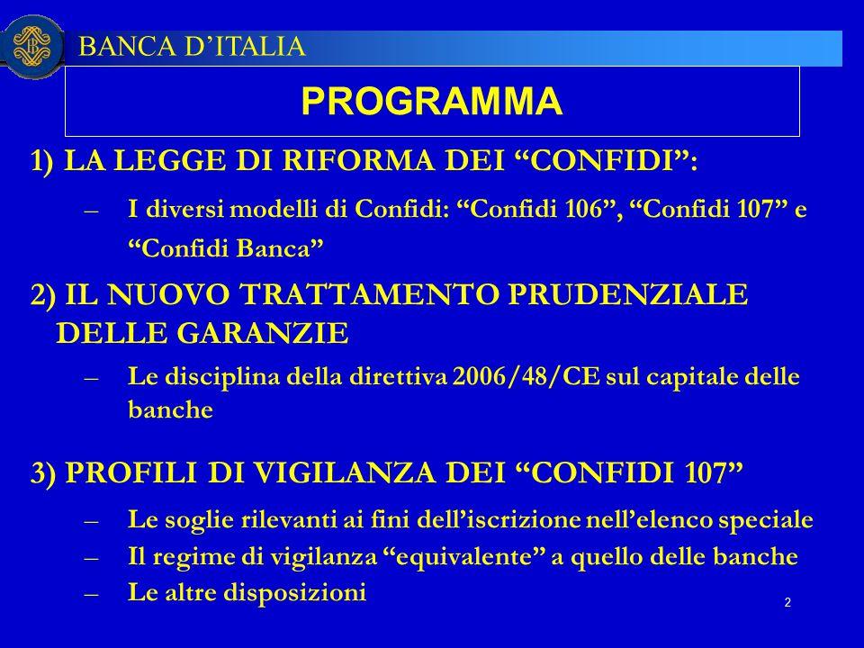 """BANCA D'ITALIA 2 PROGRAMMA 1) LA LEGGE DI RIFORMA DEI """"CONFIDI"""": –I diversi modelli di Confidi: """"Confidi 106"""", """"Confidi 107"""" e """"Confidi Banca"""" 2) IL N"""