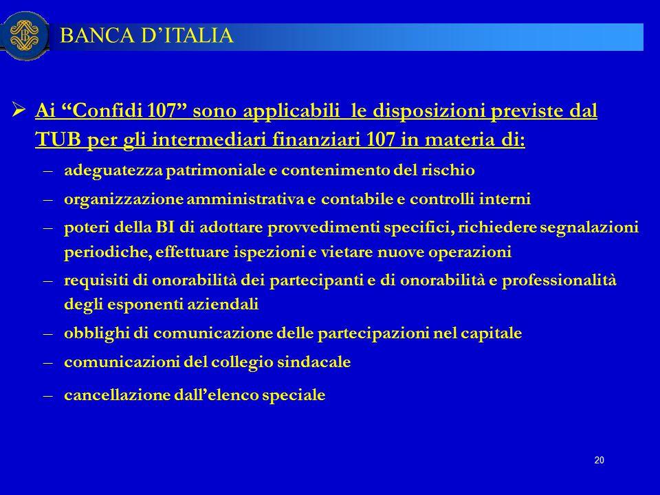 """BANCA D'ITALIA 20  Ai """"Confidi 107"""" sono applicabili le disposizioni previste dal TUB per gli intermediari finanziari 107 in materia di: –adeguatezza"""