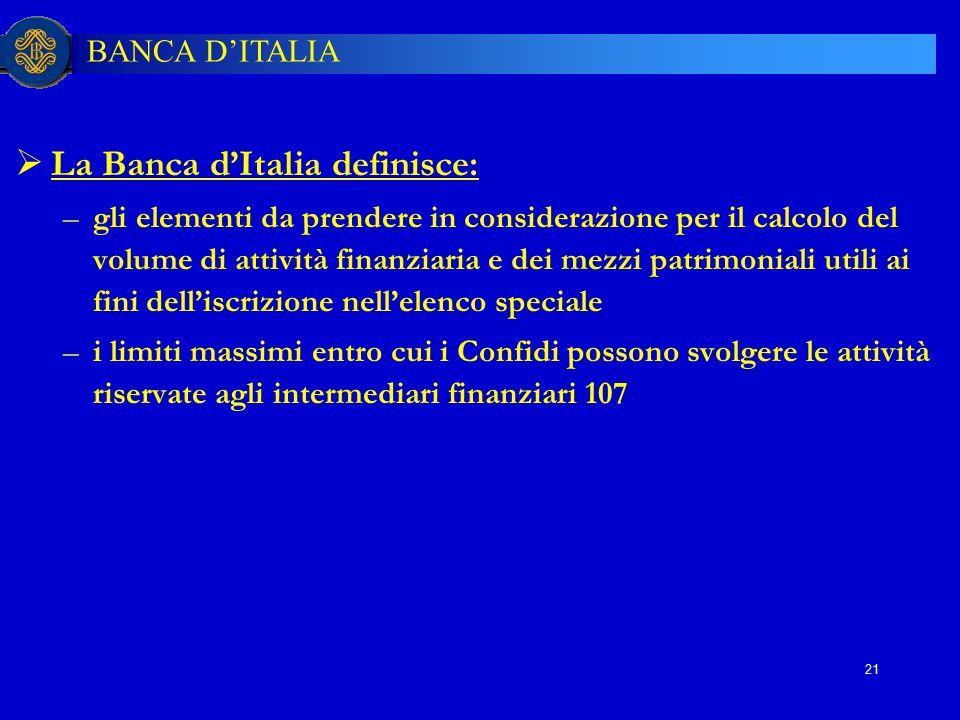 BANCA D'ITALIA 21  La Banca d'Italia definisce: –gli elementi da prendere in considerazione per il calcolo del volume di attività finanziaria e dei m