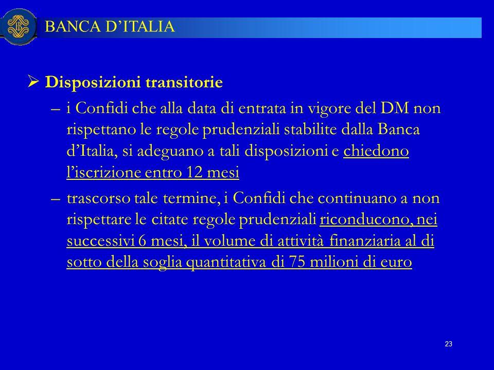 BANCA D'ITALIA 23  Disposizioni transitorie –i Confidi che alla data di entrata in vigore del DM non rispettano le regole prudenziali stabilite dalla
