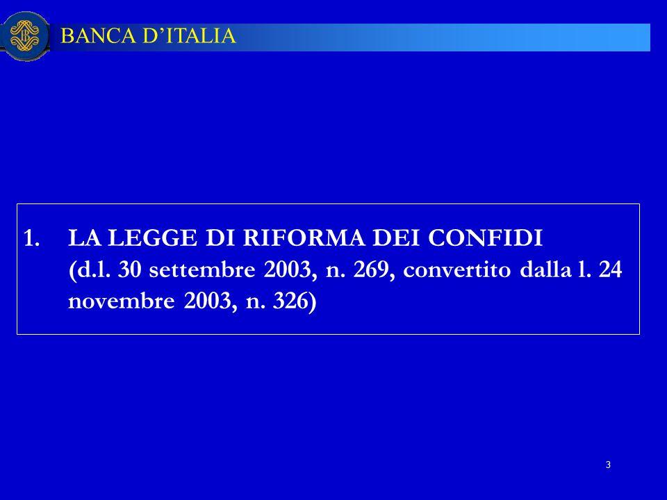 BANCA D'ITALIA 3 1.LA LEGGE DI RIFORMA DEI CONFIDI (d.l. 30 settembre 2003, n. 269, convertito dalla l. 24 novembre 2003, n. 326)
