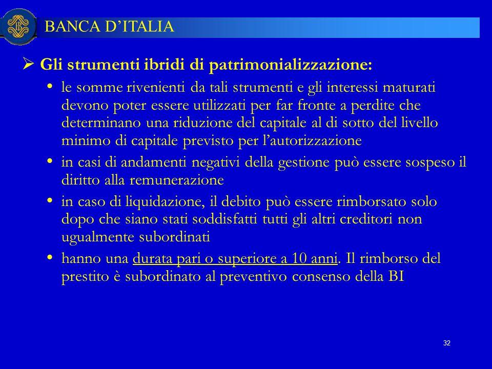 BANCA D'ITALIA 32  Gli strumenti ibridi di patrimonializzazione:  le somme rivenienti da tali strumenti e gli interessi maturati devono poter essere