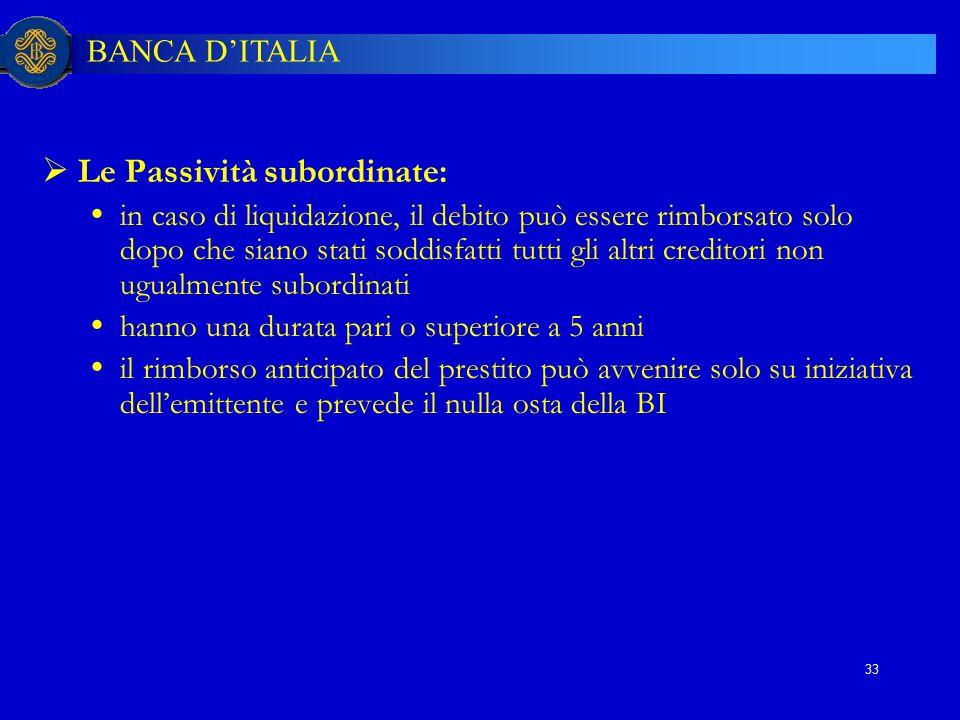 BANCA D'ITALIA 33  Le Passività subordinate:  in caso di liquidazione, il debito può essere rimborsato solo dopo che siano stati soddisfatti tutti g