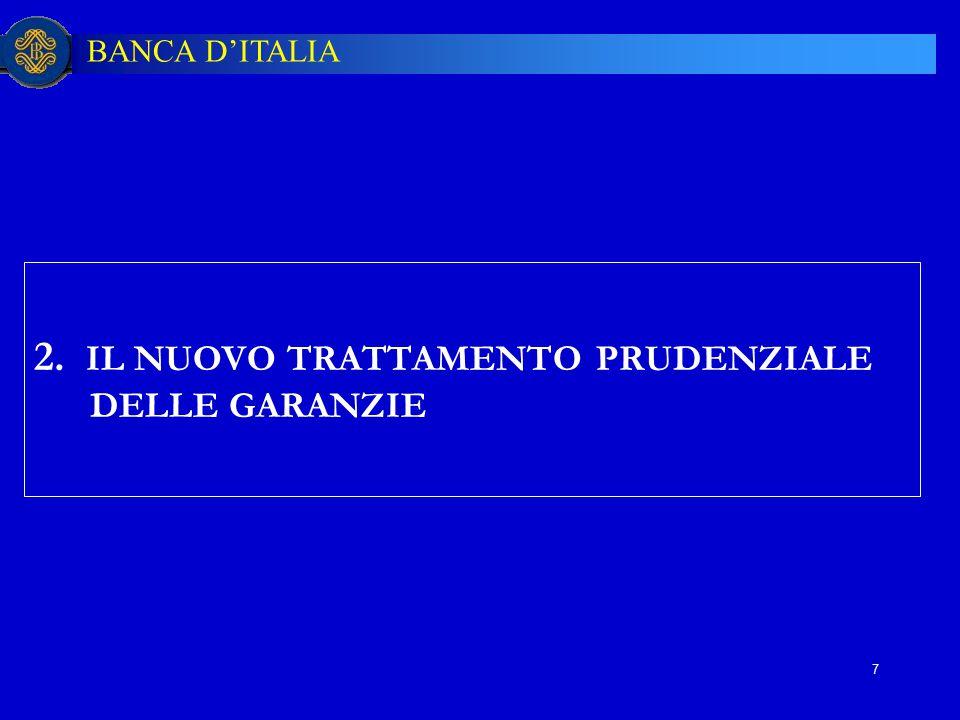 BANCA D'ITALIA 7 2. IL NUOVO TRATTAMENTO PRUDENZIALE DELLE GARANZIE