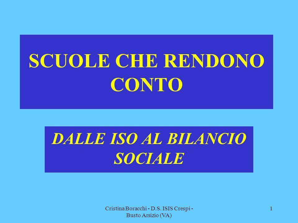 Cristina Boracchi - D.S. ISIS Crespi - Busto Arsizio (VA) 1 SCUOLE CHE RENDONO CONTO DALLE ISO AL BILANCIO SOCIALE
