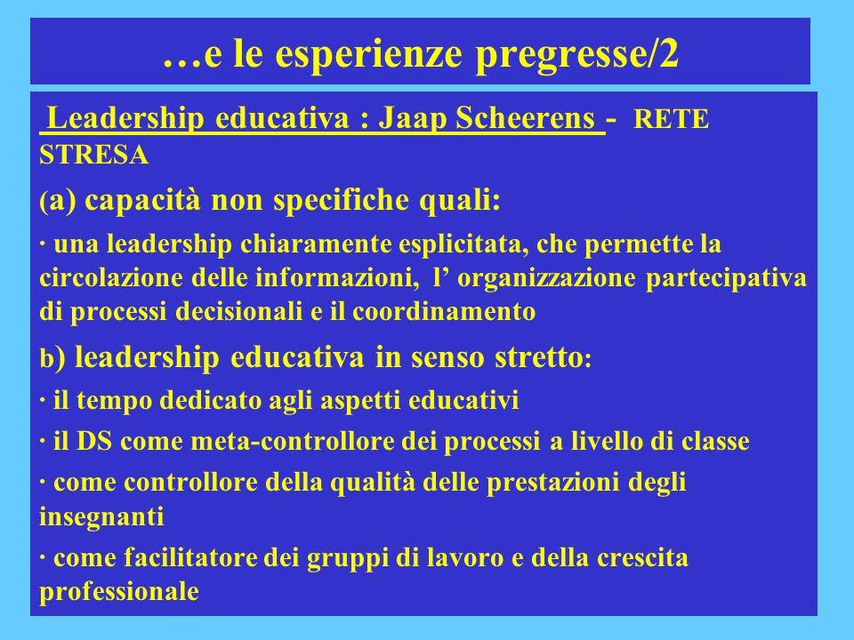10 …e le esperienze pregresse/2 Leadership educativa : Jaap Scheerens - RETE STRESA ( a) capacità non specifiche quali: · una leadership chiaramente e