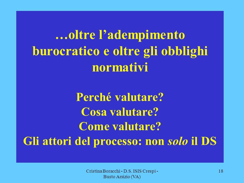 Cristina Boracchi - D.S. ISIS Crespi - Busto Arsizio (VA) 18 …oltre l'adempimento burocratico e oltre gli obblighi normativi Perché valutare? Cosa val