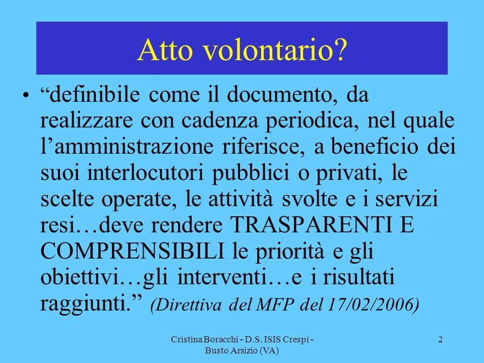 """Cristina Boracchi - D.S. ISIS Crespi - Busto Arsizio (VA) 2 Atto volontario? """" definibile come il documento, da realizzare con cadenza periodica, nel"""