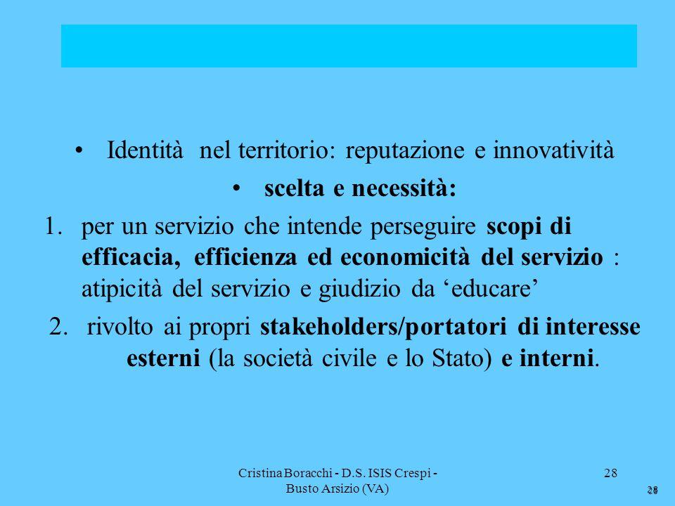 Cristina Boracchi - D.S. ISIS Crespi - Busto Arsizio (VA) 28 Identità nel territorio: reputazione e innovatività scelta e necessità: 1.per un servizio