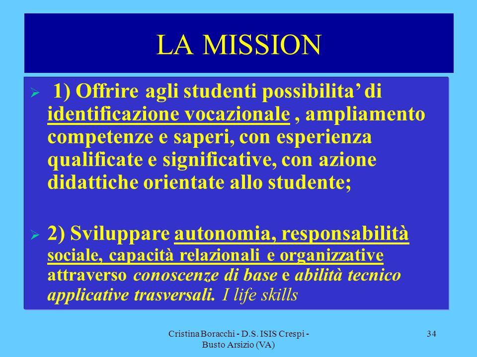 Cristina Boracchi - D.S. ISIS Crespi - Busto Arsizio (VA) 34 LA MISSION  1) Offrire agli studenti possibilita' di identificazione vocazionale, amplia